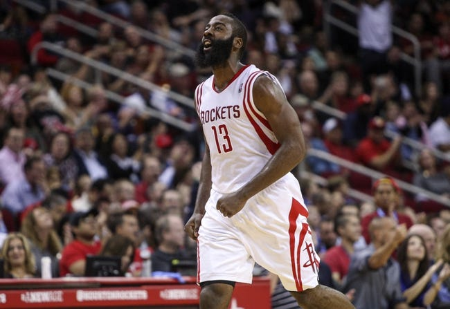 Nov 1, 2013; Houston, TX, USA; Houston Rockets shooting guard James Harden (13) reacts after a play during the fourth quarter against the Dallas Mavericks at Toyota Center. The Rockets defeated the Mavericks 113-105. Mandatory Credit: Troy Taormina-USA TODAY Sports