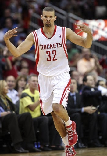 Nov 1, 2013; Houston, TX, USA; Houston Rockets shooting guard Francisco Garcia (32) reacts after making a basket during the fourth quarter against the Dallas Mavericks at Toyota Center. The Rockets defeated the Mavericks 113-105. Mandatory Credit: Troy Taormina-USA TODAY Sports