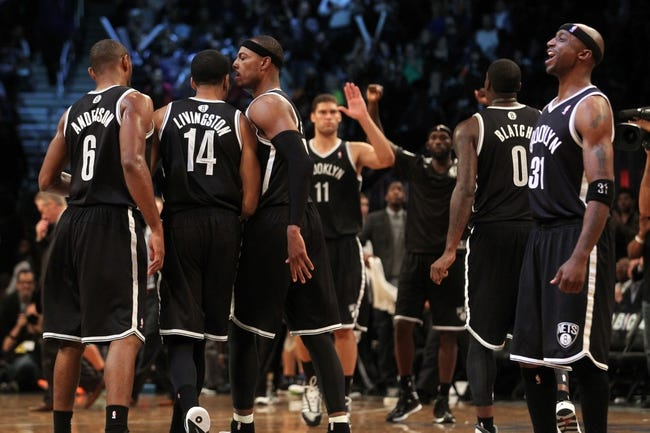 Nov 1, 2013; Brooklyn, NY, USA; The Brooklyn Nets celebrate during the fourth quarter of a game against the Miami Heat at Barclays Center. Mandatory Credit: Brad Penner-USA TODAY Sports