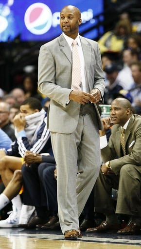 Nov 1, 2013; Denver, CO, USA; Denver Nuggets head coach Brian Shaw watches in the first quarter against the Portland Trail Blazers at the Pepsi Center. The Trail Blazers won 113-98. Mandatory Credit: Isaiah J. Downing-USA TODAY Sports