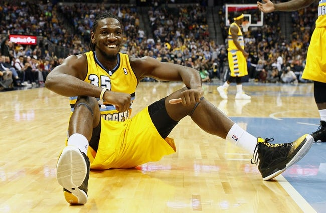 Nov 1, 2013; Denver, CO, USA; Denver Nuggets small forward Kenneth Faried (35) reacts after drawing a foul in the fourth quarter against the Portland Trail Blazers at the Pepsi Center. The Trail Blazers won 113-98. Mandatory Credit: Isaiah J. Downing-USA TODAY Sports