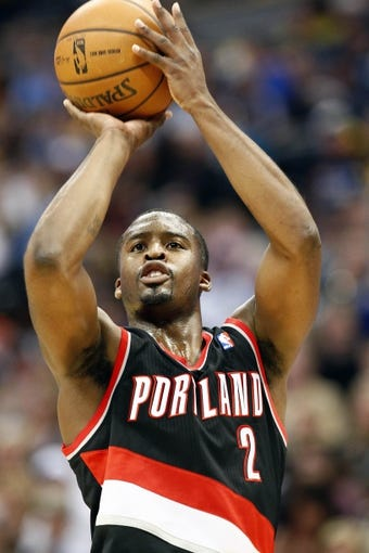 Nov 1, 2013; Denver, CO, USA; Portland Trail Blazers shooting guard Wesley Matthews (2) takes a shot in the second quarter against the Denver Nuggets at the Pepsi Center. The Trail Blazers won 113-98. Mandatory Credit: Isaiah J. Downing-USA TODAY Sports