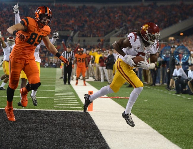 Nov 1, 2013; Corvallis, OR, USA; Southern California Trojans cornerback Josh Shaw (6) intercepts a pass intended for Oregon State Beavers tight end Connor Hamlett (89) at Reser Stadium. USC defeated Oregon State 31-14.  Mandatory Credit: Kirby Lee-USA TODAY Sports