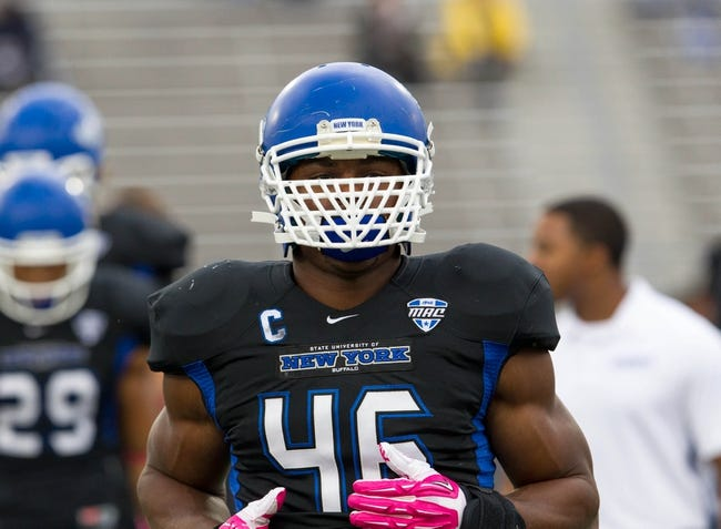 Oct 19, 2013; Buffalo, NY, USA; Buffalo Bulls linebacker Khalil Mack (46) before a game against the Massachusetts Minutemen at University of Buffalo Stadium. Mandatory Credit: Timothy T. Ludwig-USA TODAY Sports