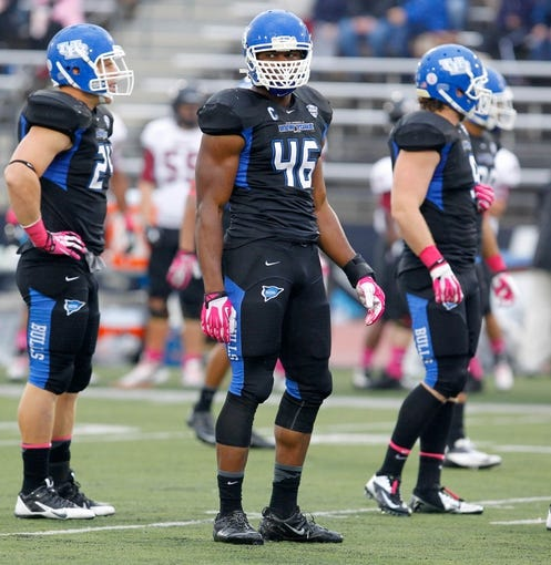 Oct 19, 2013; Buffalo, NY, USA; Buffalo Bulls linebacker Khalil Mack (46) during a game against the Massachusetts Minutemen at University of Buffalo Stadium. Mandatory Credit: Timothy T. Ludwig-USA TODAY Sports