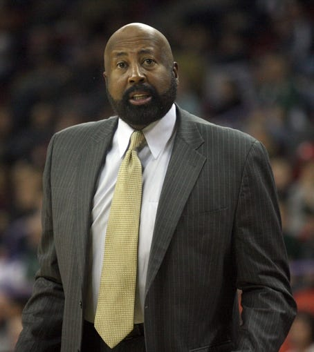 Oct 23, 2013; Green Bay, WI, USA; New York Knicks head coach Mike Woodson reacts to a play as his team plays the Milwaukee Bucks at the Resch Center in Green Bay. The Bucks defeated the Knicks 105-95. Mandatory Credit: Mary Langenfeld-USA TODAY Sports