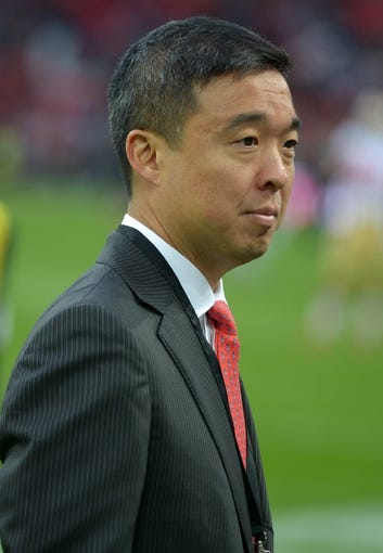 Oct 27, 2013; London, United Kingdom; San Francisco 49ers president Gideon Yu before the NFL International Series game against the Jacksonville Jaguars at Wembley Stadium. Mandatory Credit: Kirby Lee-USA TODAY Sports