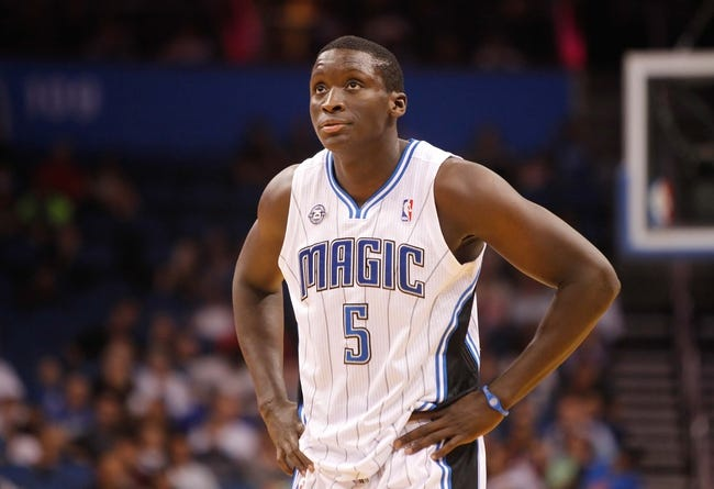 Oct 25, 2013; Orlando, FL, USA; Orlando Magic shooting guard Victor Oladipo (5) against the New Orleans Pelicans during the first quarter at Amway Center. Mandatory Credit: Kim Klement-USA TODAY Sports