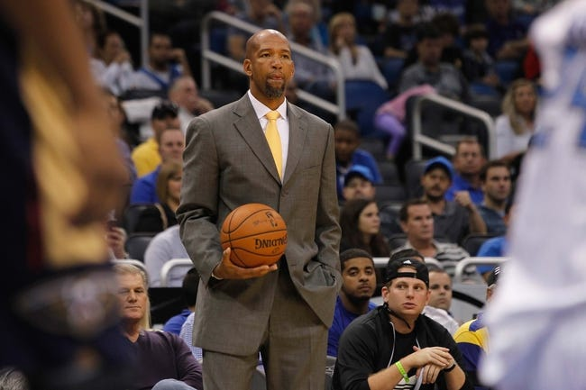 Oct 25, 2013; Orlando, FL, USA; New Orleans Pelicans head coach Monty Williams against the Orlando Magic during the second half at Amway Center. New Orleans Pelicans defeated the Orlando Magic 101-82.  Mandatory Credit: Kim Klement-USA TODAY Sports