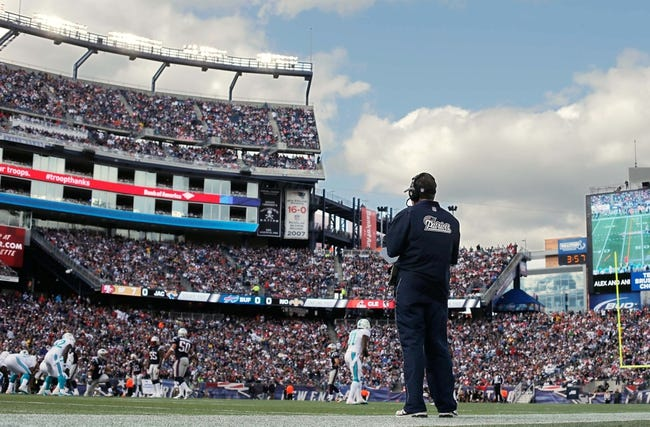 Oct 27, 2013; Foxborough, MA, USA; New England Patriots head coach Bill Belichick on the sidelines during the first quarter against the Miami Dolphins at Gillette Stadium. Mandatory Credit: Winslow Townson-USA TODAY Sports