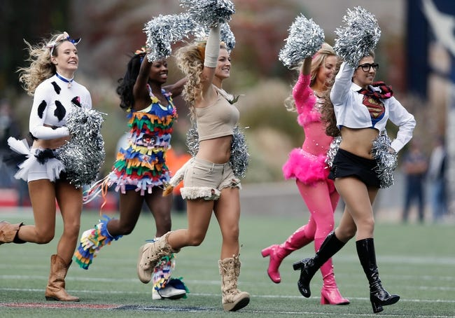 Oct 27, 2013; Foxborough, MA, USA; New England Patriots cheerleaders during the third quarter against the Miami Dolphins at Gillette Stadium. Mandatory Credit: Winslow Townson-USA TODAY Sports