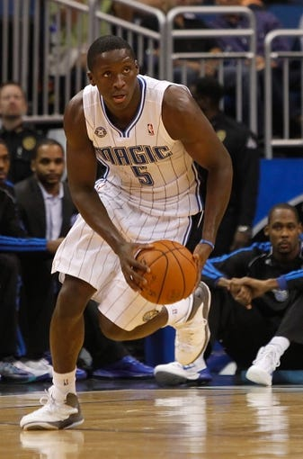 Oct 25, 2013; Orlando, FL, USA; Orlando Magic shooting guard Victor Oladipo (5) against the New Orleans Pelicans during the first half at Amway Center. Mandatory Credit: Kim Klement-USA TODAY Sports