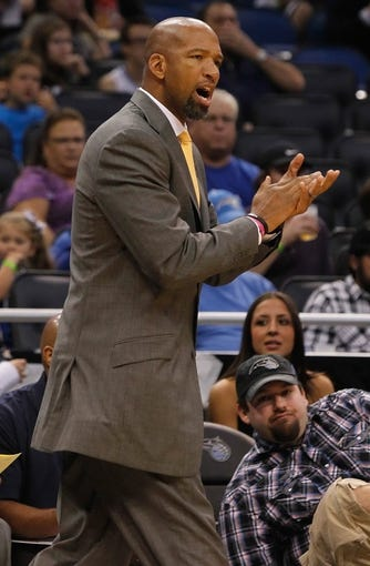 Oct 25, 2013; Orlando, FL, USA; New Orleans Pelicans head coach Monty Williams against the Orlando Magic during the first quarter at Amway Center. Mandatory Credit: Kim Klement-USA TODAY Sports