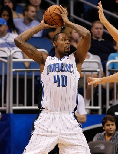 Oct 25, 2013; Orlando, FL, USA; Orlando Magic center Mickell Gladness (40) against the New Orleans Pelicans during the second half at Amway Center. New Orleans Pelicans defeated the Orlando Magic 101-82.  Mandatory Credit: Kim Klement-USA TODAY Sports