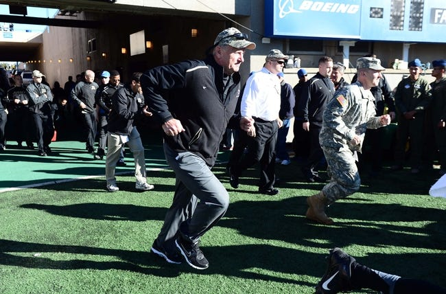 Nov 2, 2013; Colorado Springs, CO, USA; Army Black Knights head coach Rich Ellerson takes the field before the game against the Air Force Falcons at Falcon Stadium. Mandatory Credit: Ron Chenoy-USA TODAY Sports