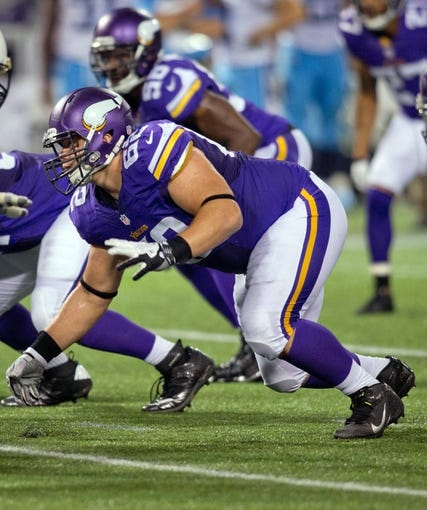 Aug 29, 2013; Minneapolis, MN, USA; Minnesota Vikings defensive tackle Chase Baker (62) lines up against the Tennessee Titans in the third quarter at Mall of America Field at H.H.H. Metrodome. Vikings win 24-23. Mandatory Credit: Bruce Kluckhohn-USA TODAY Sports