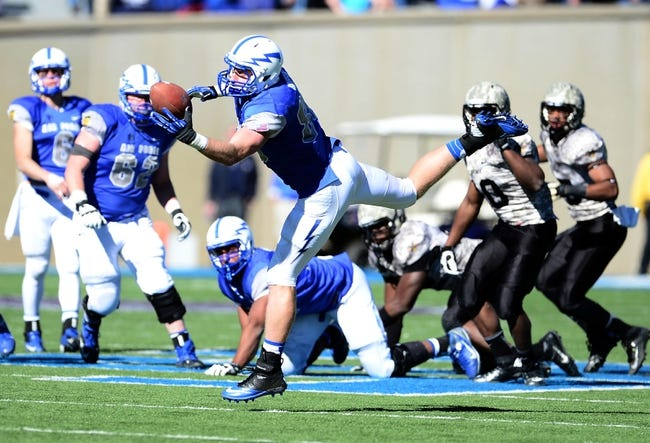 Nov 2, 2013; Colorado Springs, CO, USA; Air Force Falcons tight end Garrett Griffin (80) pulls in a reception in the fourth quarter against the Army Black Knights at Falcon Stadium. The Falcons defeated the Black Knights 42-28. Mandatory Credit: Ron Chenoy-USA TODAY Sports