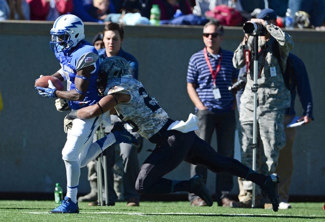 Nov 2, 2013; Colorado Springs, CO, USA; Air Force Falcons wide receiver Garrett Brown (7) heads to end zone after a reception as he is tackled by Army Black Knights linebacker Reggie Nesbit (25) in the fourth quarter at Falcon Stadium. The Falcons defeated the Black Knights 42-28. Mandatory Credit: Ron Chenoy-USA TODAY Sports