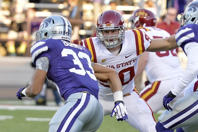 Nov 2, 2013; Manhattan, KS, USA; Iowa State Cyclones defensive lineman Mitchell Meyers (90) blocks Kansas State Wildcats defensive back Morgan Burns (33) during the second half at Bill Snyder Family Stadium. The Wildcats defeat the Cyclones 41-7. Mandatory Credit: Jasen Vinlove-USA TODAY Sports