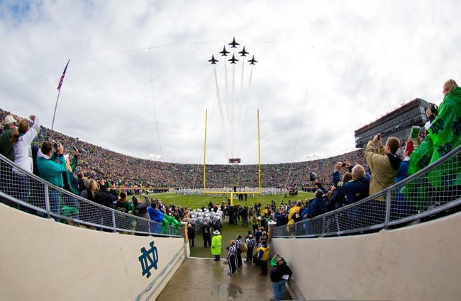 Nov 2, 2013; South Bend, IN, USA; Blue Angels flight demonstration team flies over Notre Dame Stadium before the game between the Navy Midshipmen and the Notre Dame Fighting Irish. Mandatory Credit: Matt Cashore-USA TODAY Sports