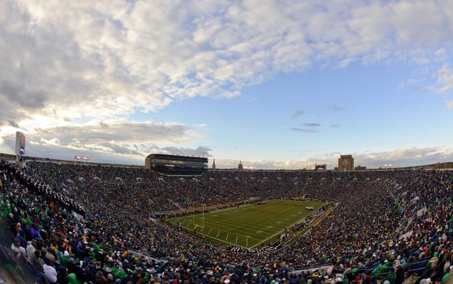 Nov 2, 2013; South Bend, IN, USA; A general view of Notre Dame Stadium during the third quarter of the game between the Notre Dame Fighting Irish and the Navy Midshipmen. Notre Dame won 38-34. Mandatory Credit: Matt Cashore-USA TODAY Sports