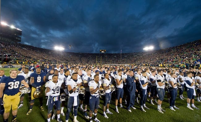 Nov 2, 2013; South Bend, IN, USA; The Navy Midshipmen sing the United States Naval Academy alma mater after losing to the Notre Dame Fighting Irish 38-34 at Notre Dame Stadium. Mandatory Credit: Matt Cashore-USA TODAY Sports