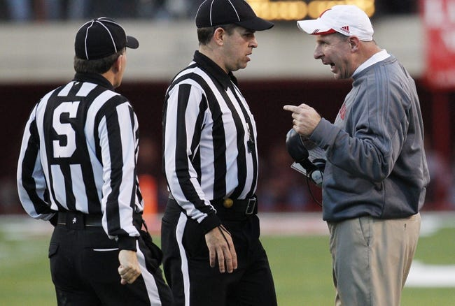 Nov 2, 2013; Lincoln, NE, USA; Nebraska Cornhuskers head coach Bo Pelini talks with the officials during the game against the Northwestern Wildcats in the fourth quarter at Memorial Stadium. Nebraska won 27-24. Mandatory Credit: Bruce Thorson-USA TODAY Sports