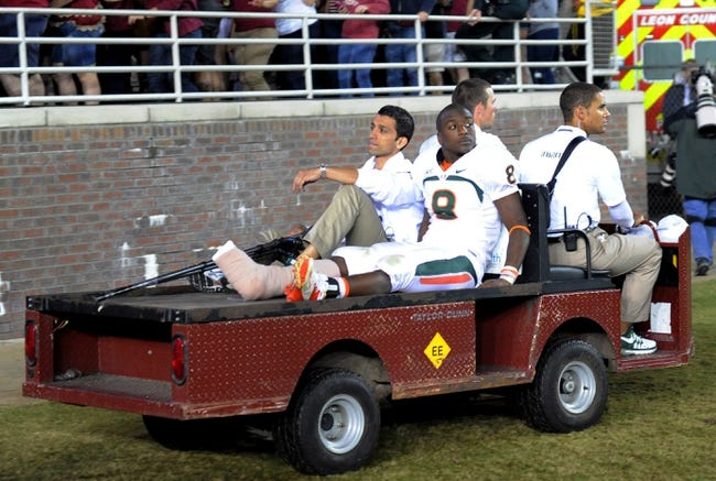 Nov 2, 2013; Tallahassee, FL, USA; Miami Hurricanes running back Duke Johnson (8) is carted off with an injury after the game against the Florida State Seminoles at Doak Campbell Stadium. Mandatory Credit: Melina Vastola-USA TODAY Sports