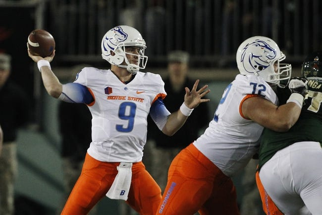 Nov 2, 2013; Fort Collins, CO, USA; Boise State Broncos quarterback Grant Hedrick (9) throws against the Colorado State Rams during the first quarter at Hughes Stadium. The Broncos defeated the Rams 42-30. Mandatory Credit: Troy Babbitt-USA TODAY Sports
