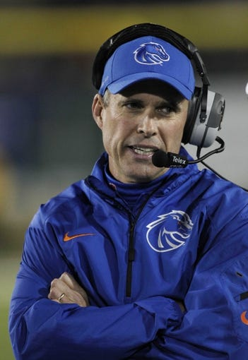 Nov 2, 2013; Fort Collins, CO, USA; Boise State Broncos head coach Chris Peterson against the Colorado State Rams during the second quarter at Hughes Stadium. The Broncos defeated the Rams 42-30. Mandatory Credit: Troy Babbitt-USA TODAY Sports