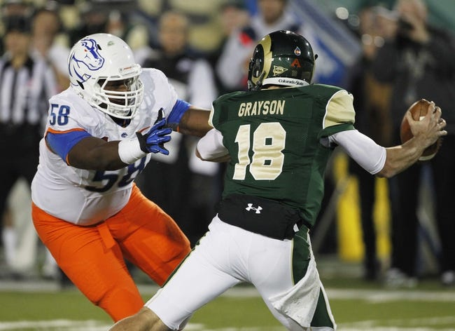 Nov 2, 2013; Fort Collins, CO, USA; Colorado State Rams quarterback Garrett Grayson (18) tries to avoid Boise State Broncos defensive tackle Robert Ash (58) during the second quarter at Hughes Stadium. The Broncos defeated the Rams 42-30. Mandatory Credit: Troy Babbitt-USA TODAY Sports