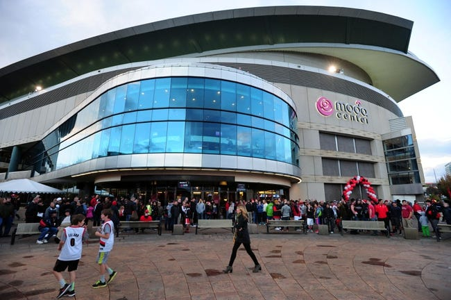 Nov 2, 2013; Portland, OR, USA; General view of the exterior of the Moda Center before the game between the San Antonio Spurs and Portland Trail Blazers. Mandatory Credit: Steve Dykes-USA TODAY Sports