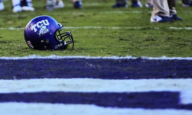 Nov 2, 2013; Fort Worth, TX, USA; TCU Horned Frogs helmet on the field during the game against the West Virginia Mountaineers at Amon G. Carter Stadium. West Virginia won 30-27. Mandatory Credit: Kevin Jairaj-USA TODAY Sports