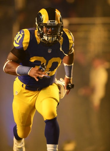 Nov 3, 2013; St. Louis, MO, USA; St. Louis Rams running back Zac Stacy (30) is introduced before a game against the Tennessee Titans at the Edward Jones Dome. Tennessee defeated St. Louis 28-21. Mandatory Credit: Jeff Curry-USA TODAY Sports