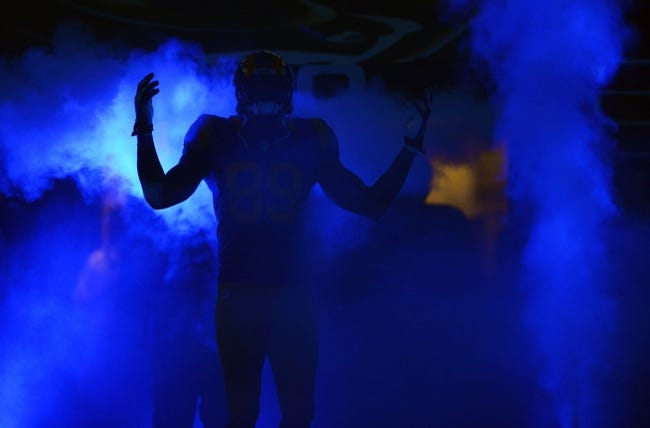 Nov 3, 2013; St. Louis, MO, USA; St. Louis Rams tight end Jared Cook (89) is introduced before a game against the Tennessee Titans at the Edward Jones Dome. Tennessee defeated St. Louis 28-21. Mandatory Credit: Jeff Curry-USA TODAY Sports