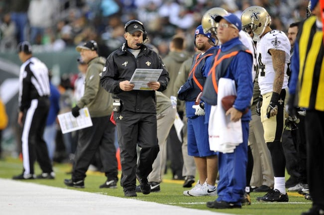 Nov 3, 2013; East Rutherford, NJ, USA; New Orleans Saints head coach Sean Payton looks on against the New York Jets during the second half at MetLife Stadium. The Jets won the game 26-20. Mandatory Credit: Joe Camporeale-USA TODAY Sports