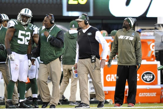Nov 3, 2013; East Rutherford, NJ, USA; New York Jets head coach Rex Ryan looks on against the New Orleans Saints during the second half at MetLife Stadium. The Jets won the game 26-20. Mandatory Credit: Joe Camporeale-USA TODAY Sports
