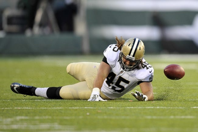 Nov 3, 2013; East Rutherford, NJ, USA; New Orleans Saints fullback Jed Collins (45) is unable to make a catch against the New York Jets during the second half at MetLife Stadium. The Jets won the game 26-20. Mandatory Credit: Joe Camporeale-USA TODAY Sports