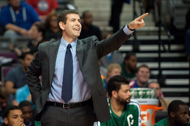 Nov 3, 2013; Auburn Hills, MI, USA; Boston Celtics head coach Brad Stevens during the second quarter against the Detroit Pistons at The Palace of Auburn Hills. Mandatory Credit: Tim Fuller-USA TODAY Sports
