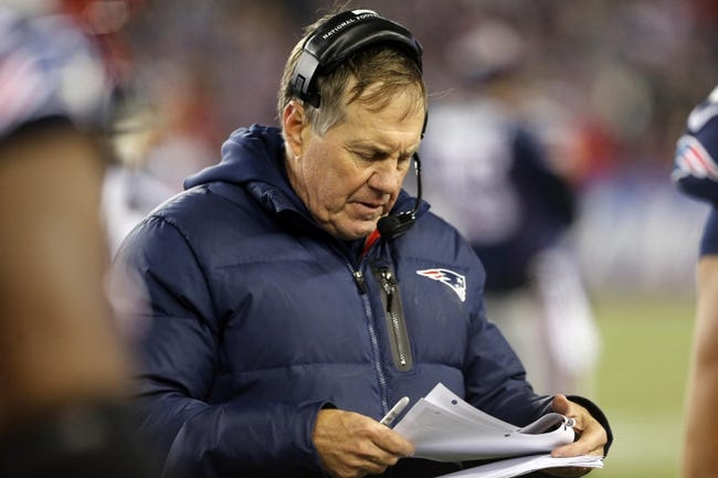 Nov 3, 2013; Foxborough, MA, USA; New England Patriots head coach Bill Belichick against the Pittsburgh Steelers in the second half at Gillette Stadium. The Patriots defeated the Steelers 55-31. Mandatory Credit: David Butler II-USA TODAY Sports