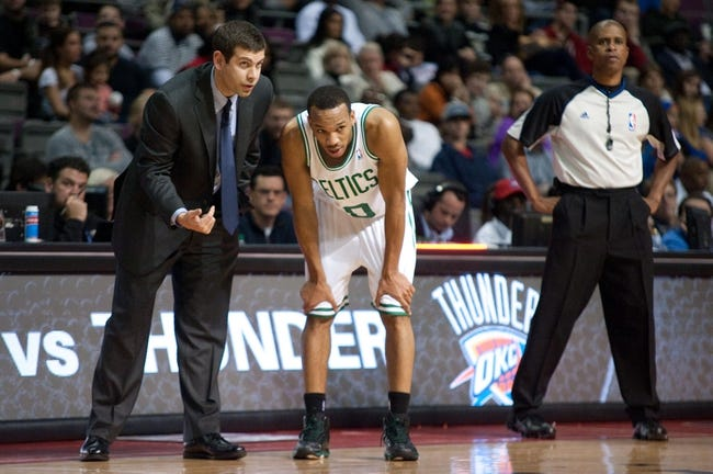 Nov 3, 2013; Auburn Hills, MI, USA; Boston Celtics head coach Brad Stevens talks to point guard Avery Bradley (0) during the fourth quarter against the Detroit Pistons at The Palace of Auburn Hills. Detroit won 87-77. Mandatory Credit: Tim Fuller-USA TODAY Sports