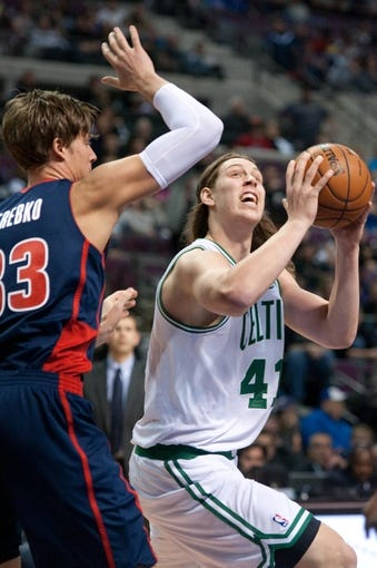 Nov 3, 2013; Auburn Hills, MI, USA; Boston Celtics power forward Kelly Olynyk (41) drives to the basket against the Detroit Pistons during the second quarter at The Palace of Auburn Hills. Mandatory Credit: Tim Fuller-USA TODAY Sports