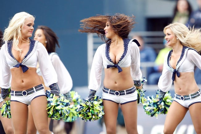 Nov 3, 2013; Seattle, WA, USA; Seattle Seahawks cheerleaders perform during a second quarter timeout against the Tampa Bay Buccaneers at CenturyLink Field. Mandatory Credit: Joe Nicholson-USA TODAY Sports