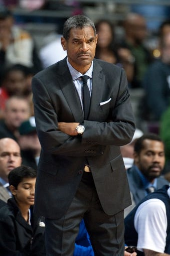 Nov 3, 2013; Auburn Hills, MI, USA; Detroit Pistons head coach Maurice Cheeks during the game against the Boston Celtics at The Palace of Auburn Hills. Detroit won 87-77. Mandatory Credit: Tim Fuller-USA TODAY Sports