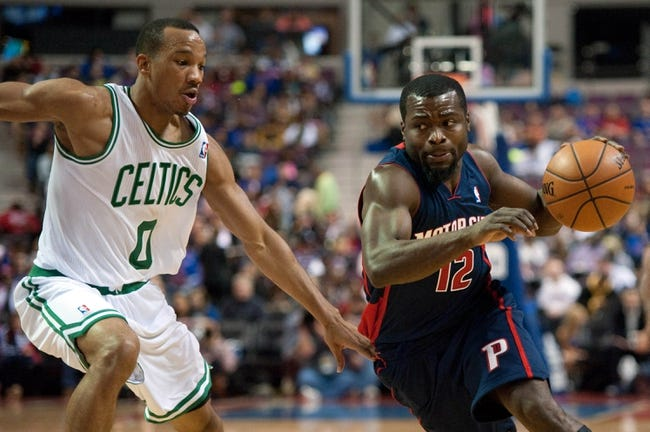 Nov 3, 2013; Auburn Hills, MI, USA; Detroit Pistons point guard Will Bynum (12) drives past Boston Celtics point guard Avery Bradley (0) during the game at The Palace of Auburn Hills. Detroit won 87-77. Mandatory Credit: Tim Fuller-USA TODAY Sports