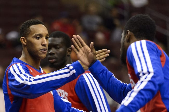 Oct 23, 2013; Philadelphia, PA, USA; Philadelphia 76ers guard Evan Turner (12) is introduced prior to playing the Minnesota Timberwolves at Wells Fargo Center. The Timberwolves defeated the Sixers 125-102. Mandatory Credit: Howard Smith-USA TODAY Sports