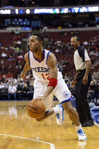 Oct 23, 2013; Philadelphia, PA, USA; Philadelphia 76ers guard Evan Turner (12)  during the first quarter against the Minnesota Timberwolves at Wells Fargo Center. The Timberwolves defeated the Sixers 125-102. Mandatory Credit: Howard Smith-USA TODAY Sports