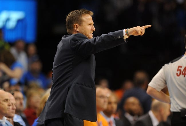 Nov 3, 2013; Oklahoma City, OK, USA; Oklahoma City Thunder head coach Scott Brooks reacts to a play in action against the Phoenix Suns at Chesapeake Energy Arena. Mandatory Credit: Mark D. Smith-USA TODAY Sports