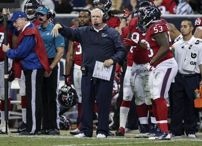 Nov 3, 2013; Houston, TX, USA; Houston Texans defensive coordinator Wade Phillips coaches from the sideline during the third quarter against the Indianapolis Colts at Reliant Stadium. The Colts defeated the Texans 27-24. Mandatory Credit: Troy Taormina-USA TODAY Sports