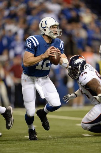 Oct 20, 2013; Indianapolis, IN, USA; Indianapolis Colts quarterback Andrew Luck (12) prepares to pass in the fourth quarter against the Denver Broncos at Lucas Oil Stadium. The Colts defeated the Broncos 39-33. Mandatory Credit: Ron Chenoy-USA TODAY Sports